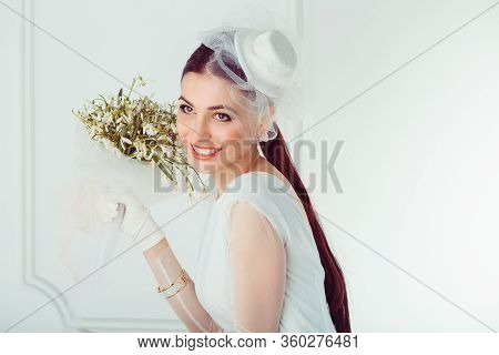 Happy Retro Bride. Closeup Portrait Smiling Happy Young Woman Girl Looking Up Wards Isolated White W