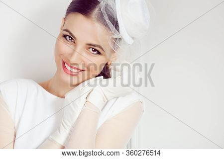 Happy Woman Portrait. Closeup Portrait Smiling Bride Young Woman Looking At You Camera Isolated Whit