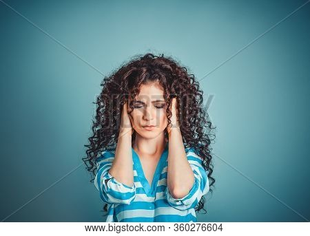Portrait Stressed Sad Young Woman Isolated Blue Background. City Stress Concept