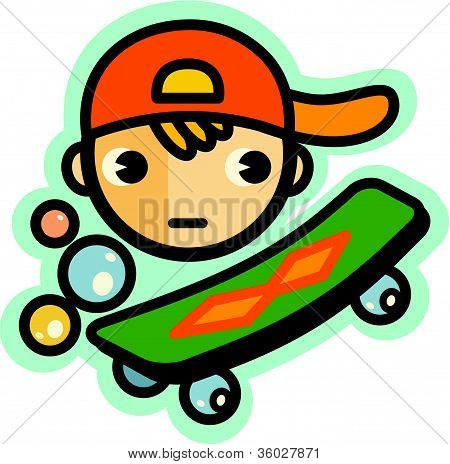 Illustration Of A Boy Wearing A Hat And A Green Skateboard