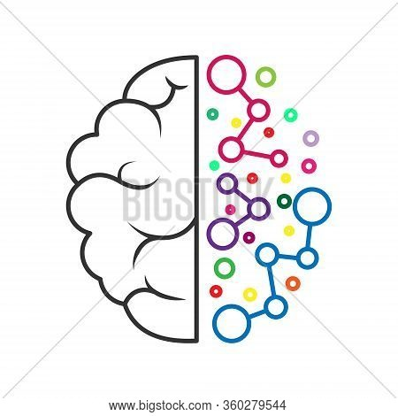 Left And Right Hemisphere Of The Brain. Geometric Construction Of Artificial Intelligence. Stock Vec