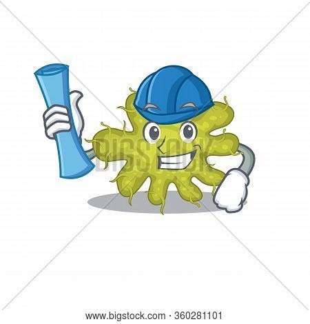 Cartoon Character Of Bacterium Brainy Architect With Blue Prints And Blue Helmet