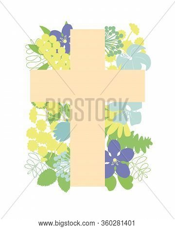 A Cross With Flowers . Biblical Christian Background.