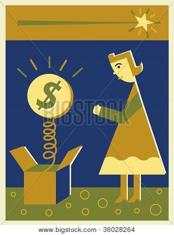 A Woman Looking At A Money Jack In The Box