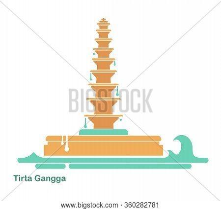 Water Palace Of Tirta Gangga. Landmark In Bali, Indonesia. Flat Vector Icon