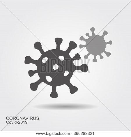 Corona Virus Cells Sign. Flat Vecror Icon Wint Shadow. Coronavirus Illustration