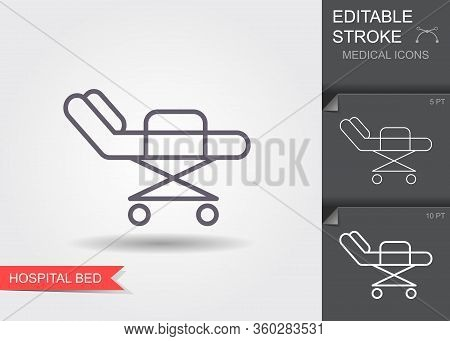 Hospital Bed. Line Icon With Editable Stroke. Vector Illustration