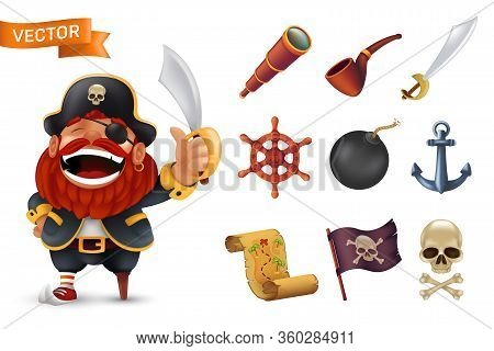 Sea Pirate Icon Set With Red-bearded Captain Character, Human Skull, Saber, Anchor, Steering Wheel,