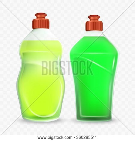 Bottle Of Dishwashing Detergent Liquid Set Vector. Blank Transparent Plastic Containers With Yellow