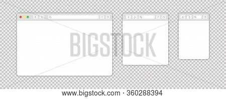 Browser Window Isolated Vector Web Elements Transparent Background. Design Template With Browser Win