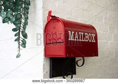 Red Mailbox Decoration Furniture At Terrace Outdoor Of Cafe Coffee Shop At Narathiwat, Thailand