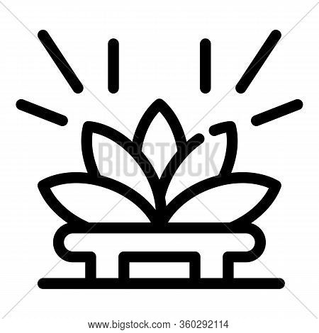 Lotus Tea Ceremony Icon. Outline Lotus Tea Ceremony Vector Icon For Web Design Isolated On White Bac