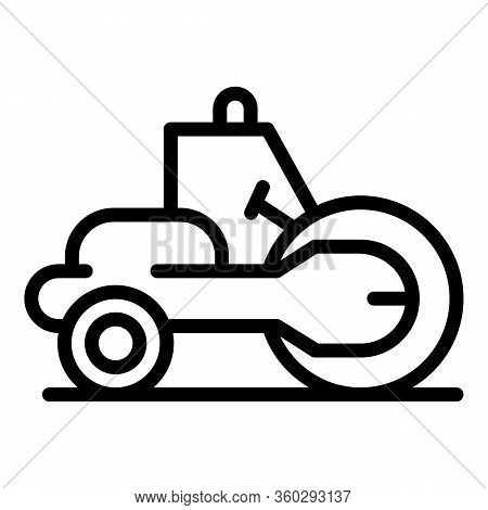 Construction Road Roller Icon. Outline Construction Road Roller Vector Icon For Web Design Isolated