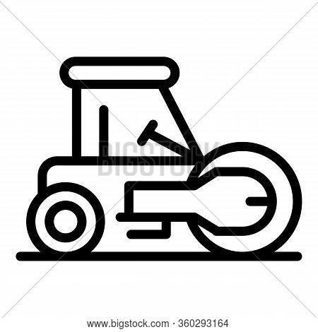 Work Road Roller Icon. Outline Work Road Roller Vector Icon For Web Design Isolated On White Backgro