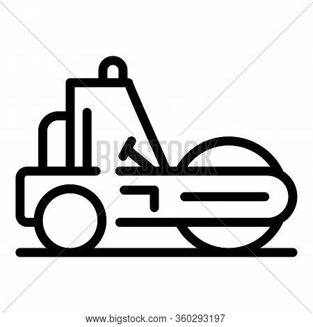 City Road Roller Icon. Outline City Road Roller Vector Icon For Web Design Isolated On White Backgro