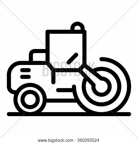 Business Road Roller Icon. Outline Business Road Roller Vector Icon For Web Design Isolated On White