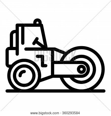 Road Roller Machinery Icon. Outline Road Roller Machinery Vector Icon For Web Design Isolated On Whi