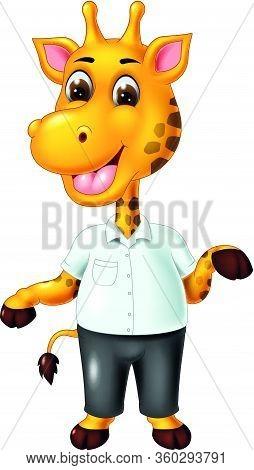Giraffe In White Shirt And Black Pant Cartoon