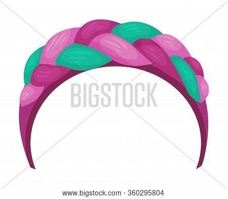 Girlish Headband With Braided Ribbon For Doing Hair Vector Illustration