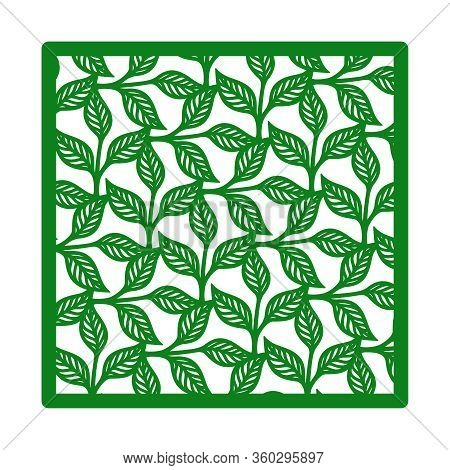 Vector Square Frame With A Pattern Of Branches, Leaves. Design Element, Sample Panel For Plotter Cut