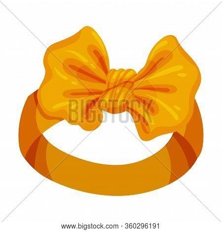 Stylish Female Headband With Bow-knot Isolated On White Background Vector Illustration