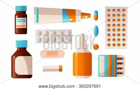 Set Of Medical First Aid Kit Drugs That Contain Various Pills, Potions, Drops, Ampoules. Vector Illu