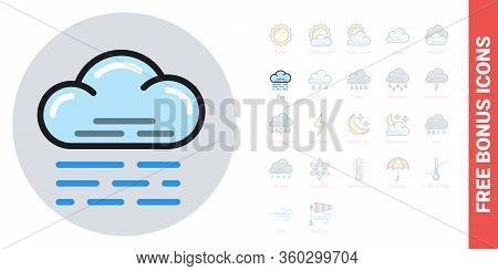 Fog, Mist Or Haze Icon For Weather Forecast Application Or Widget. Simple Color Version. Free Bonus