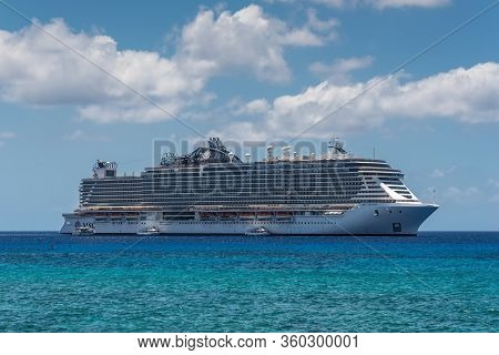 George Town, Grand Cayman Islands, United Kingdom - April 23, 2019: Cruise Ship Msc Seaside Is Ancho