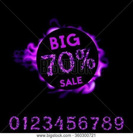 70 Percent Big Sale. Purple Fire Design On Black Background. Vector Illustration