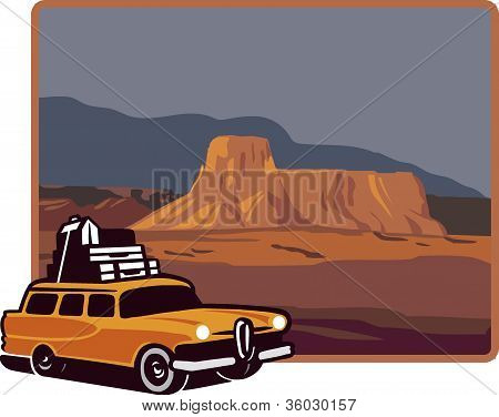 A Car With Luggages In Front Of A Mesa In The Us