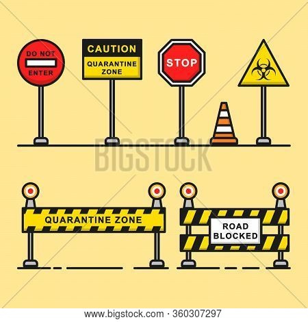 Road Warning Sign Of Quarantine Zone Graphic Element.
