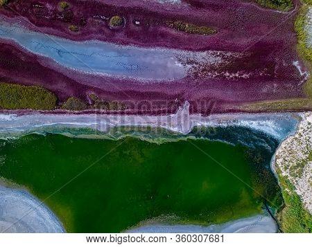 Amazing Beauty Of Drying Urortnoe Estuary From Birds Flight. Top View Of Coastal Zone Of Ecological