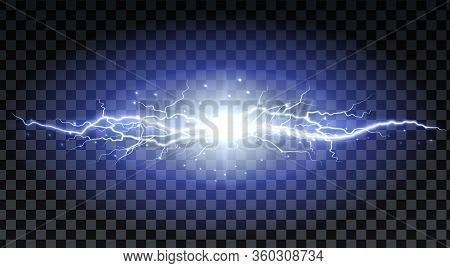 Lightning Strikes And Sparks, Electrical Energy On Transparent Background. Lightning Flash And Spark