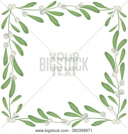 Floral Mistletoe Frame; Square Borders With White Mistletoe For Greeting Cards, Invitations, Wedding