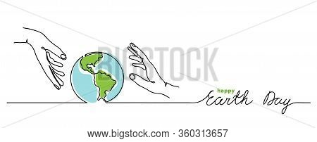 Happy Earth Day Vector Background. Simple Planet And Hands. Minimalist Web Banner, Earth Day Vector