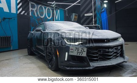 Tomsk, Russia - March 30, 2020: Chevrolet Camaro Zl1 The Exorcist Soap Headlight Close-up