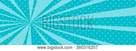 Cartoon Retro Pop Art Banner With Sunbeam, Dots On An Azure Banner And The Suns Rays , Vector Illust
