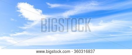 Blue Sky With White Clouds Panoramic Big Shot. Background From The Cloudy Sky. Long And Stretched Cl
