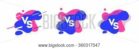 Versus Logo Vs Letters On Colorful Backgraund. Liquid Shapes, Sport Design. For Sports And Fight Com