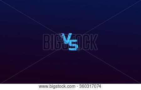 Blue Polygonal Versus Logo Vs Letters For Sports And Fight Competition. Battle Vs Match, Game Concep