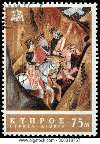 Luga, Russia - October 15, 2019: A Stamp Printed By Cyprus Shows The Three Wise Men, 15th Century Pa