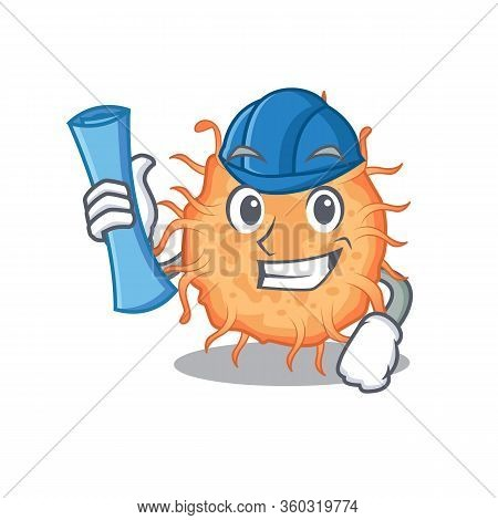 Cartoon Character Of Bacteria Endospore Brainy Architect With Blue Prints And Blue Helmet