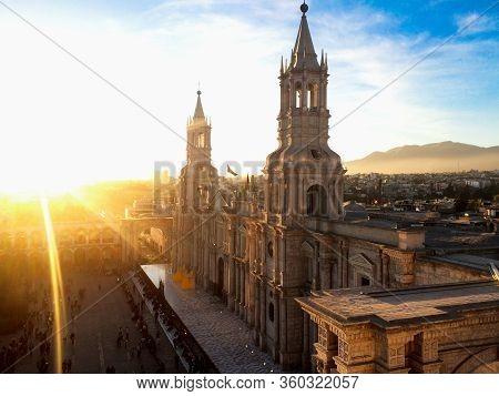 Sunset At Basilica Cathedral Of Arequipa, Peru