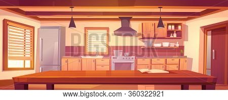Rustic Kitchen Empty Interior With Wooden Table, Furniture And Appliances. Oven, Range Hood, Refrige