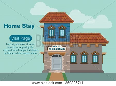 Illustration Of Comfortable House Building For Home Stay Services. Web Page Template For Promotional