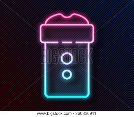 Glowing Neon Line Vagina Masturbator Icon Isolated On Black Background. Sex Toy For Man. Vector Illu