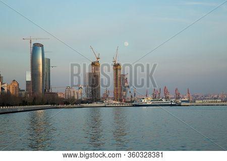 Panoramic View Of The Caspian Sea In Baku. Panoramic View Of Baku, Azerbaijan, Skyline With Historic