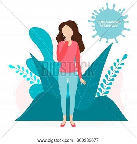 Coronavirus Symptoms Covid-19 Medical Vectorvector Illustration Infection. Background With Virus Cel