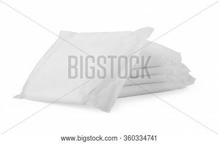 Feminine Sanitary Pad Isolate On White Background. Women's Pad. Sanitary Pad Closeup.
