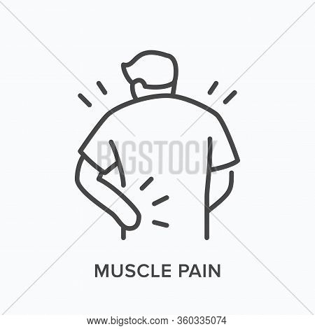 Person With Backache Line Icon. Vector Outline Illustration Man With Musle Pain. Human With Spine Pr